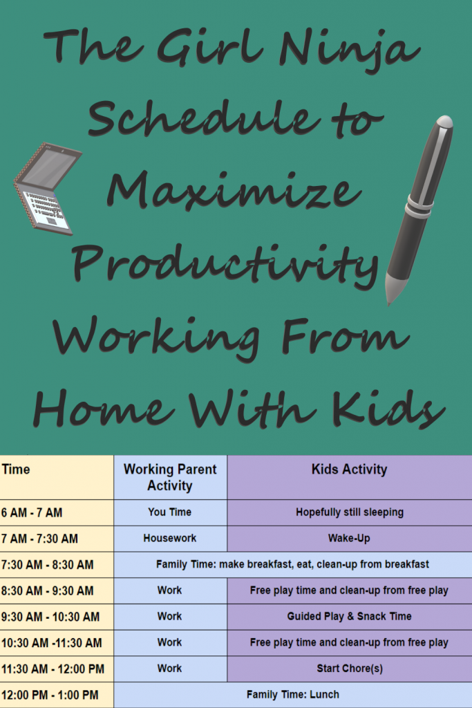 Lower half shows table with three columns, first column is yellow showing time slots, second column is blue showing working parent activity, and third column is purple showing kid activities. Upper half of image is teal green with laptop and pen clip art. The Girl Ninja Schedule to Maximize Productivity Working From Home With Kids