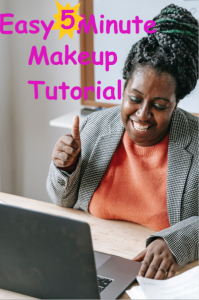 Woman sitting in front of laptop giving a thumbs up Easy 5 Minute Makeup Tutorial