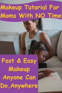 Woman with ponytail sitting on couch in front of laptop with young little girl coloring on paper with crayons next to her on the couch. Makeup Tutorial For Moms With NO Time Fast & Easy Makeup Anyone Can Do, Anywhere