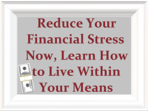 white picture frame around a gray rectangle that has a stack of bills in the bottom left corner and bold red text that reads Reduce Your Financial Stress Now, Learn How to Live Within Your Means