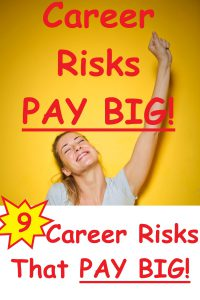 female face looking up with eyes closed and big smile. Left arm raised straight into the air with hand in fist. Blond hair pulled back into a ponytail that flows over her right shoulder and gray v-neck t-shirt. Career risks pay big! 9 Career risks that pay big!