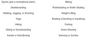 Two column list of Active Hobbies: sports, skateboarding, walking, jogging, running, yoga, hiking, skiing, snowboarding, karate, kick-boxing, biking, rollerblading, roller skating, weight lifting, boating (canoeing or kayaking), fishing, snow shoeing, dancing, zumba,