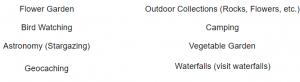 Two column list of Outdoor Hobbies: flower garden, bird watching, astronomy (stargazing), geocaching, outdoor collections (rocks, flowers, etc.), camping, vegetable garden, waterfalls (visit waterfalls)