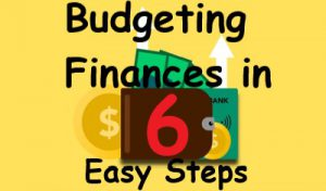 Bright yellow rectangle with brown clipart wallet in middle. Clip art dollar bills are bursting out of the side and top of wallet with white arrows going from the bills point up. Black text reads Budgeting finances in 6 easy steps