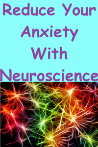 Brightly Lit Up Nerves in orange, green, red, purple, and yellow on a black background. Above nerves large purple text on a sky blue background reads Reduce Your Anxiety With Neuroscience