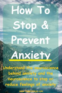 A wide river between mountains reflects  fluffy white clouds scattered across a blue sky. A translucent light green rectangle overlays sky, mountains, and river with large white text that reads How To Stop & Prevent Anxiety. Below white text small yellow text reads Understand the neuroscience behind anxiety and the neuroscience to stop or reduce feelings of anxiety. At bottom center small yellow text reads www.thegirlninja.com