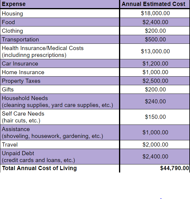 Table of expenses and their estimated annual costs. Total expected annual cost of living is shown to be $44,790.00.