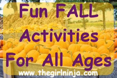 large wooden wagons filled with pumpkins in a field. Over pumpkins a translucent yellow rectangle has purple text that reads Fun FALL Activities For All Ages. At bottom center white text reads www.thegirlninja.com